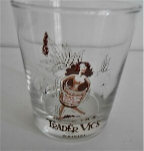 VINTAGE TRADER VIC'S WAIKIKI TOPLESS GIRL IN RUM BARREL COCKTAIL GLASS LIBBEY