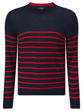 Gant Men's Breton Stripe Jumper Clear Red Size 2XL New with Tags Best Price UK