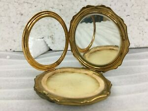 OLD Vintage Stratton Powder Compact ORANGE & Gold.Made In England