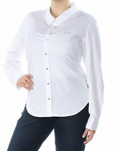TOMMY HILFIGER Womens White Embellished Button Up Top XL