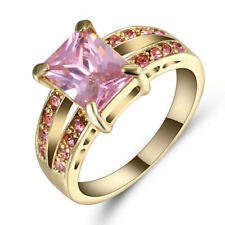 Size 7 Women Pink Crystal Wedding Ring Women's 10Kt  Yellow Gold Filled