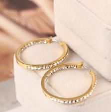 Michael Kors Shiny Gold Tone Plated Hoop Swarovski Crystal Pave Earrings