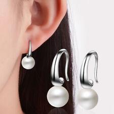 Women 10 mm Pearl Hook Lady Elegant 925 Sterling Silver Ear Stud Earrings