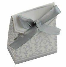 50 Silver Flower Pattern Wedding Favour Boxes (415205-77)