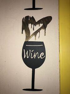 Wine Glass love sign steel wall hanger love wine dripping heart
