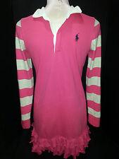 RALPH LAUREN POLO Rugby Womens Juniors Dress Ruffles Long Sleeve Sz XL-16 Pink