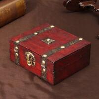 Wooden Vintage Treasure Chest Wood Jewellery Storage Box Case Organiser Ring UK