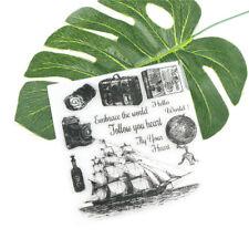 Romantic Sailboat Camera Globe Travel Stamp Seal Scrapbook/Photo Album Decor HU