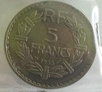 5 francs lavrillier nickel 1935 : TB : pièce de monnaie française