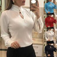 Women Ladies Summer Chiffon Long Sleeve Casual Shirt Tops Blouse T-Shirt S-5XL