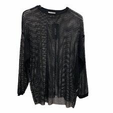 ZARA Size L Fishnet Pullover Top Blouse Black Crewneck Long Sleeves Mesh