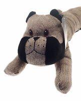 Bulldog Dog Draught Excluder Herringbone Tweed Brown NEW