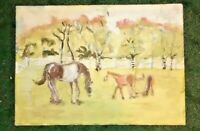 Expressionist Horse Painting Modernist Gouache Watercolor Mare and Foals Signed