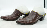The Old Gringo Brown Leather Slip On High Stacked Heel Western Womens Mules Sz 8
