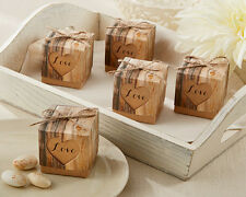 24 Hearts In Love Rustic Theme Wedding Favor Boxes