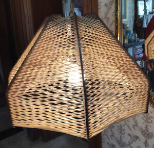Vintage Rattan Woven Hanging Lamp Light Pendant Wicker