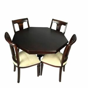 Antique Style Solid Mahogany Wood Octagonal Dining Table Set 120cm