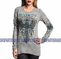 Sinful Twisted Vine S3876 Women`s New Long Sleeve Graphic Grey Top By Affliction