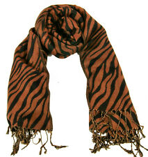Edler Damen Schal Schwarz Braun Animal Tiger MusterNEU