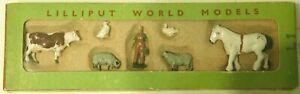 Pre-War BRITAINS 1930s Lead, Lilliput World Model Farm, HO Size, 7 Pc. Boxed Set