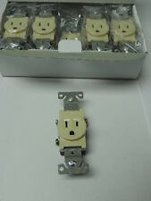 Lot of 10 Ivory Single Outlet Residential Wall Receptacle 15A 120V