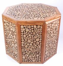 Design Hocker / Beistell-Tisch aus Teak & Ast-Scheiben, ca. 60x60x60cm