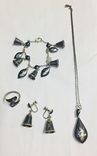 Siam Sterling Silver Lot of 4 Charm Bracelet Earrings Ring Necklace