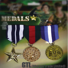 MILITARY HERO MEDALS SOLDIER ARMY WAR 3 PIECE - KIDS ADULT JEWELRY