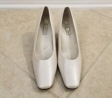Nordstrom Women's White Leather Dress Pumps Heels Square Toe Size 8.5 N