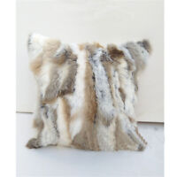 100% Real Rabbit Fur Protector Pillowcase Cover Pillow Sections Cusion 18 x 20''
