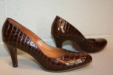 """9.5 N Vtg 60s Reptile Print Spike 3"""" High Heel Shoe Town & Country Brown Leather"""