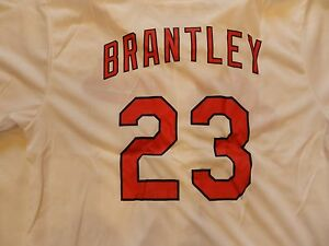 CLEVELAND INDIANS SGA MICHAEL BRANTLEY JERSEY WHITE # 23  FULL BUTTON JERSEY