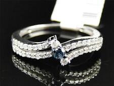 Ladies Genuine White Gold Finish Blue White Diamond Wedding Engagement Band Ring