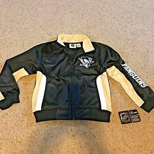 NHL Apparel PITTSBURGH PENGUINS Tricot Track Jacket BOYS Size SMALL Black