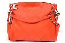 Auth CHANEL Quilted Leather CC Red Tote Shopping Purse Handbag Shoulder Bag NR