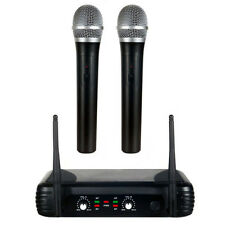FUNK MIKROFON 2-KANAL SET VHF HAND MICRO WIRELESS SPRACH & GESANG DJ DYNAMISCH