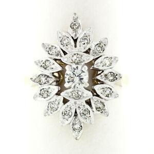 Vintage 14k White Yellow Gold .62ctw Round Diamond Spray Cluster Cocktail Ring