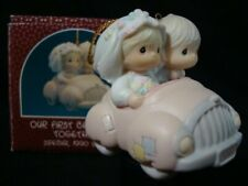 Precious Moments Ornaments-Couple-Bride/Gr oom In Car 1990 Limited Edition