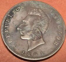 RRR ✠ Ecuador ✠ Galapagos Countermark ✠ Un Sucre XF ✠ 1891 ✠ Lima T.F. ✠ 24.90 g