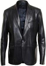 Para Hombre Suave Work Wear Cordero Genuino 100% Cuero Negro Abrigo Blazer Un Botón