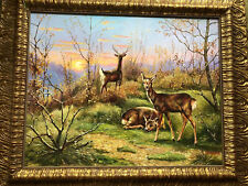 Signed Artist Yuriy  Dvornik Single Oil Painting  Sunset Deer Animal Scene