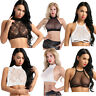 Womens Transparent Floral Lace Tank Crop Tops Sheer Mesh Casual Tee Blouse Vest