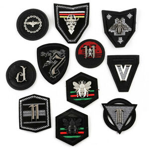 PU Leather Military Embroidered Sew On Cloth Patch Sticker Garment Accessories