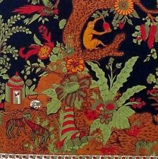 Handmade Cotton Tree of Life Tapestry Throw Tablecloth Spread Black Gold 70x104