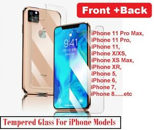 For iPhone 11 12 Pro Max Front and Back Tempered Glass Screen Protector Film