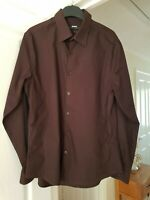 Men's River Island Brown Smart Casual Shirt, Size M (Chest 39/41'') VGC