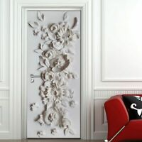 Embossed Door Wallpaper Cover Floral Mural Self Adhesive For Home Interior Decor