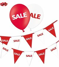 SALE Bundle of Red & White Bunting Banner and 25 Assorted R & W Latex Balloons