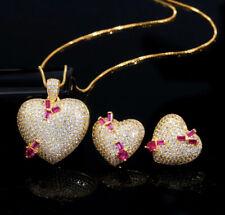 18K Gold GP Heart Pendant Necklace Earrings Set Simulated Diamond & Pink Topaz