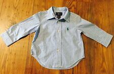 Polo Ralph Lauren Blue Multi checked gingham shirt size 12M New Without Tag